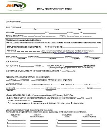 Company Employee Information Sheet