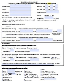 printable employee information form