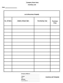 inventory spreadsheet