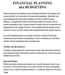 sample budgets for non profit organizations