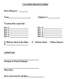 vacation forms for employees