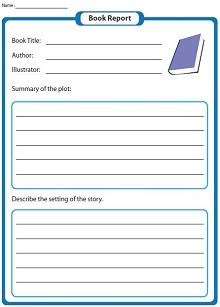 book report sheet fourth grade