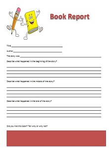 book report template elementary