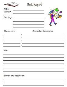 book report template 2nd grade