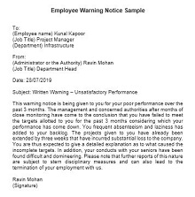 free employee warning forms