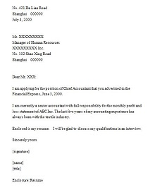 cover letter for accounting position