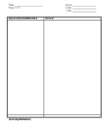 focus notes template
