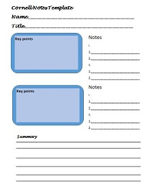 note taking sheet template