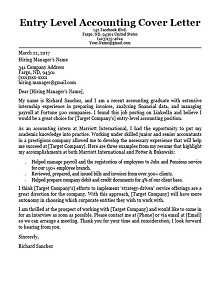 sample cover letters for accounting
