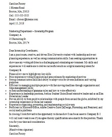 cover letter internship examples