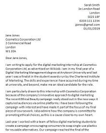 cover letter sample internship