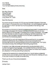 cover letter format for internship