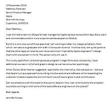 sample cover letter for internship