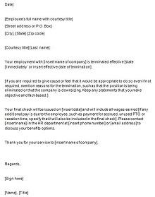 employment dismissal letter