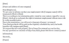 sample of termination letter for employee with notice