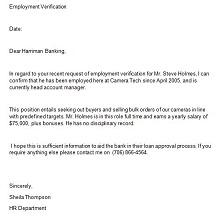 employee verification letter