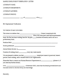 employment verification letter template word