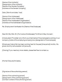 letter of employment templates